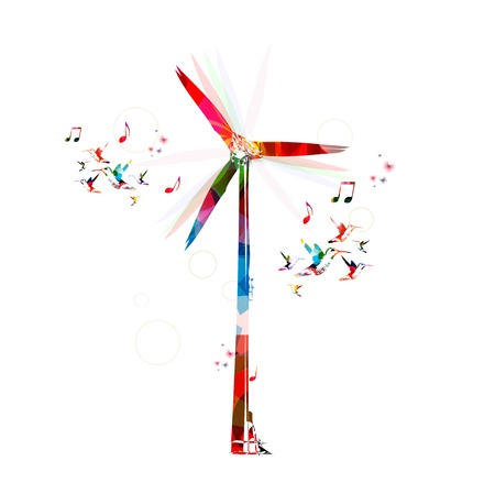 windfarm: Colorful vector windmill background with hummingbirds