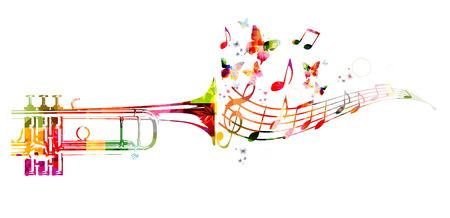 Colorful trumpet design with butterflies Stock Illustratie