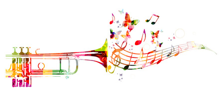 La conception de trompette coloré avec des papillons Vecteurs