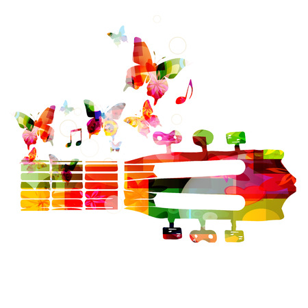 fretboard: Colorful guitar fretboard with butterflies
