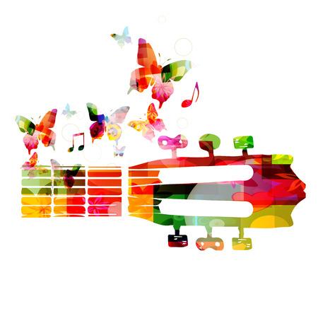 Kleurrijke gitaar fretboard met vlinders Stock Illustratie