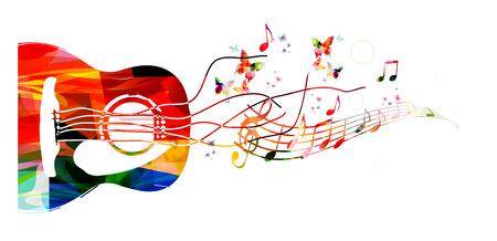 기타와 함께 다채로운 음악 배경 일러스트