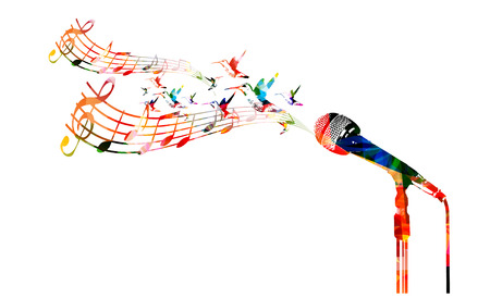 Colorful microphone with hummingbirds Stock Illustratie