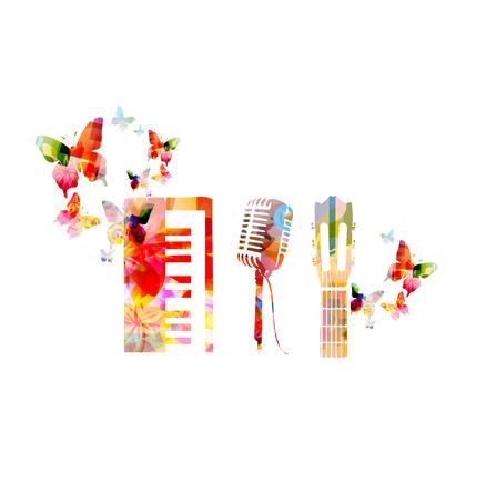カラフルな楽器の背景  イラスト・ベクター素材