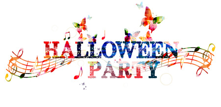 inscription: Halloween party colorful inscription