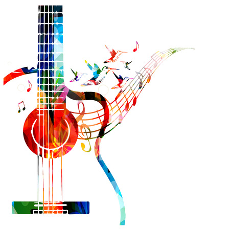 Colorful music background with guitar Stock fotó - 44057072