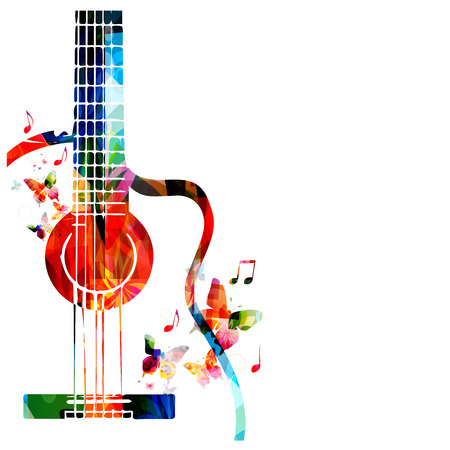 Colorful music background with guitar Reklamní fotografie - 44057074