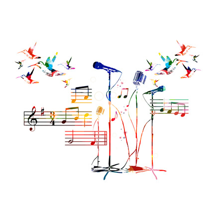 singing bird: Colorful music background. Vector