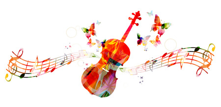 violin: Colorful violoncello with music notes