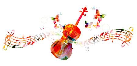 chiave di violino: Violoncello variopinta con le note musicali