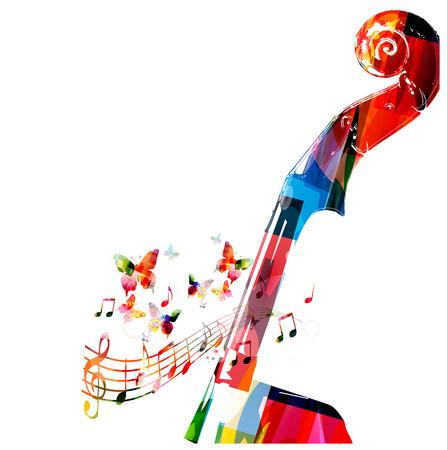 armonia: Clavijero violoncello colorido con las mariposas Vectores