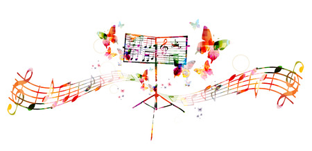 abstract music background: Colorful music stand with butterflies