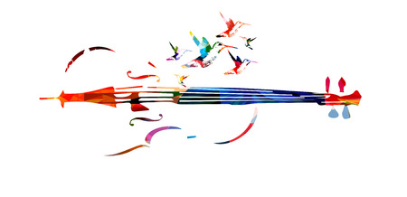 Colorful violoncello with hummingbirds