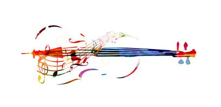 음악 노트와 다채로운 첼로 일러스트