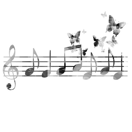 black butterfly: Music notes background