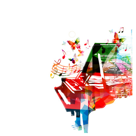 music symbol: Colorful music background. Vector