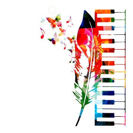 カラフルなピアノのデザイン。バック グラウンド ミュージック