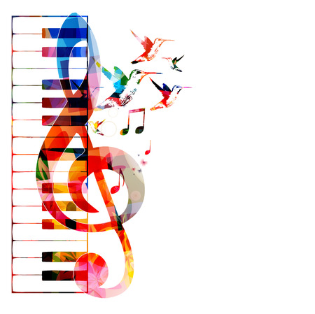 musical notes background: Colorful keyboard design with hummingbirds Illustration