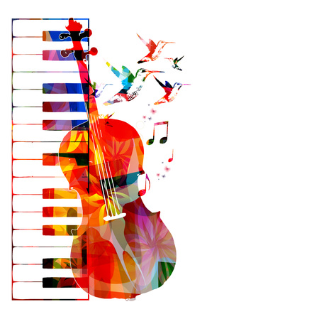 violines: Diseño colorido con el violoncello colibríes Vectores