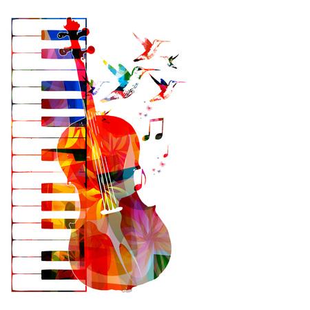 violoncello: Disegno violoncello variopinto con colibrì