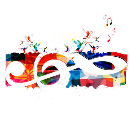 Colorful background with music notes Stock Vector - 45048969