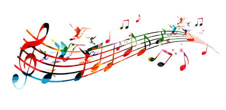 Colorful background with music notes Banco de Imagens - 45048971
