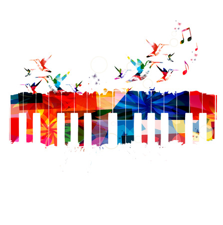 Colorful piano design with hummingbirds 向量圖像