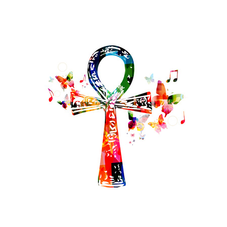 ankh: Colorful Egyptian cross Ankh with butterflies Illustration