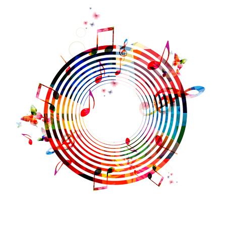 音符とカラフルな背景