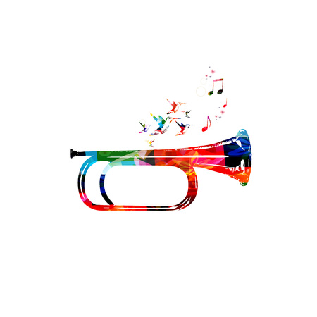abstract music: Colorful bugle design with hummingbirds