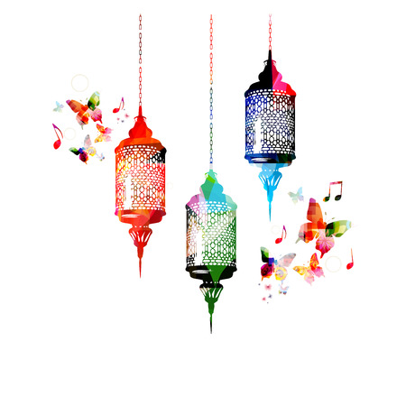 Colorful lamps for Ramadan with butterflies Çizim