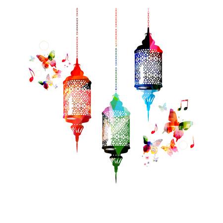 Kleurrijke lampen voor Ramadan met vlinders Stock Illustratie