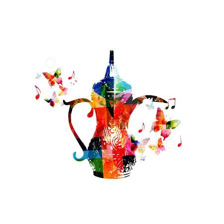 arabic coffee: Colorful Arabic coffee pot design Illustration