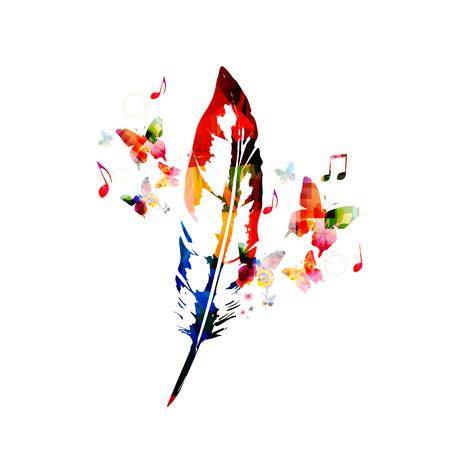 크리 에이 티브 깃털 디자인 일러스트