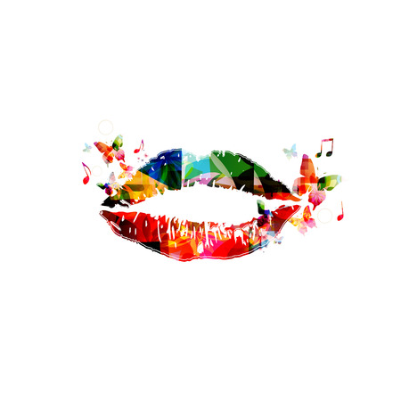 Lipstick kiss on white background Vettoriali