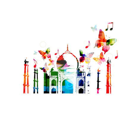 mausoleum: Colorful Taj-Mahal mausoleum design Illustration