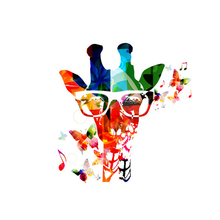 蝶とカラフルなキリンのデザイン