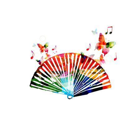 colour fan: Colorful folding fan design with butterflies Illustration