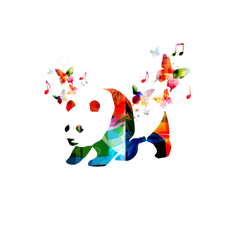 Colorful panda design with butterflies Иллюстрация