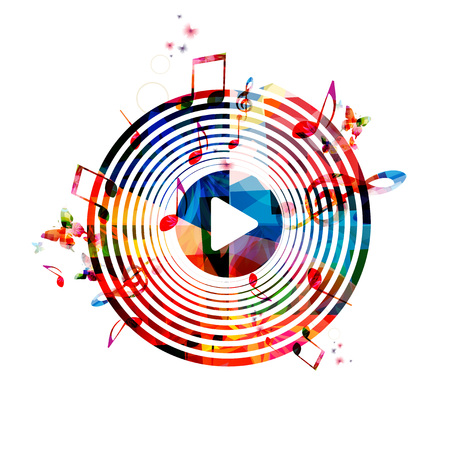 musical notes background: Colorful background with music notes