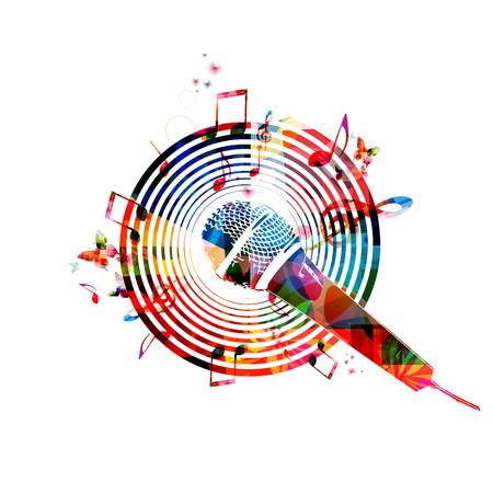 Muziek neemt nota van achtergrond met microfoon