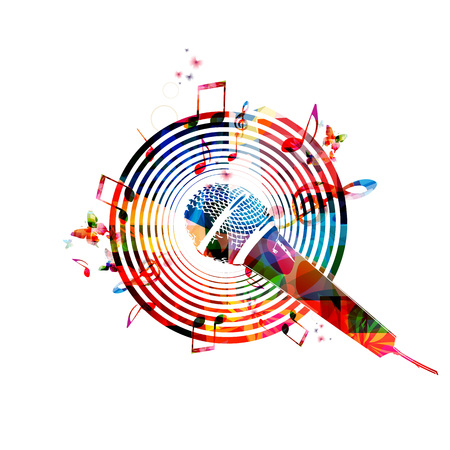 Music notes background with microphone Illustration