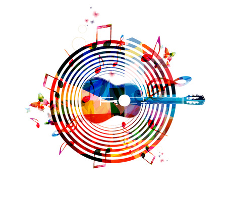 Music notes background with guitar Ilustrace