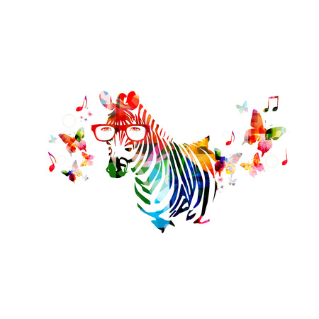 Colorful zebra design with butterflies