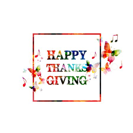 inscription: Colorful Happy Thanksgiving inscription Illustration