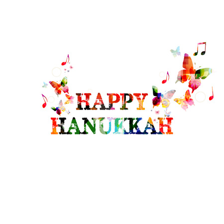 hanukkah: Colorful Happy Hanukkah inscription