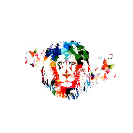 abstract animal: Colorful lion head close up