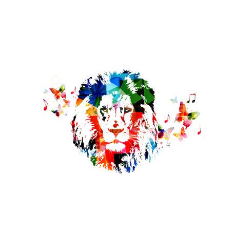 royal safari: Colorful lion head close up