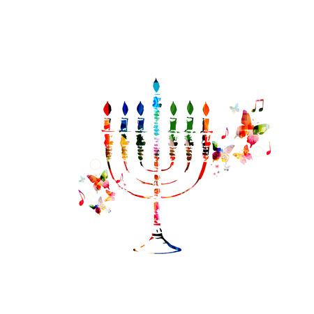 judaic: Colorful Hanukkah menorah with candles Illustration