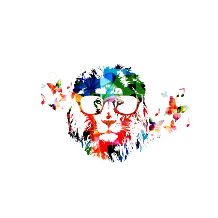 lion vector: Colorful lion head with glasses close up